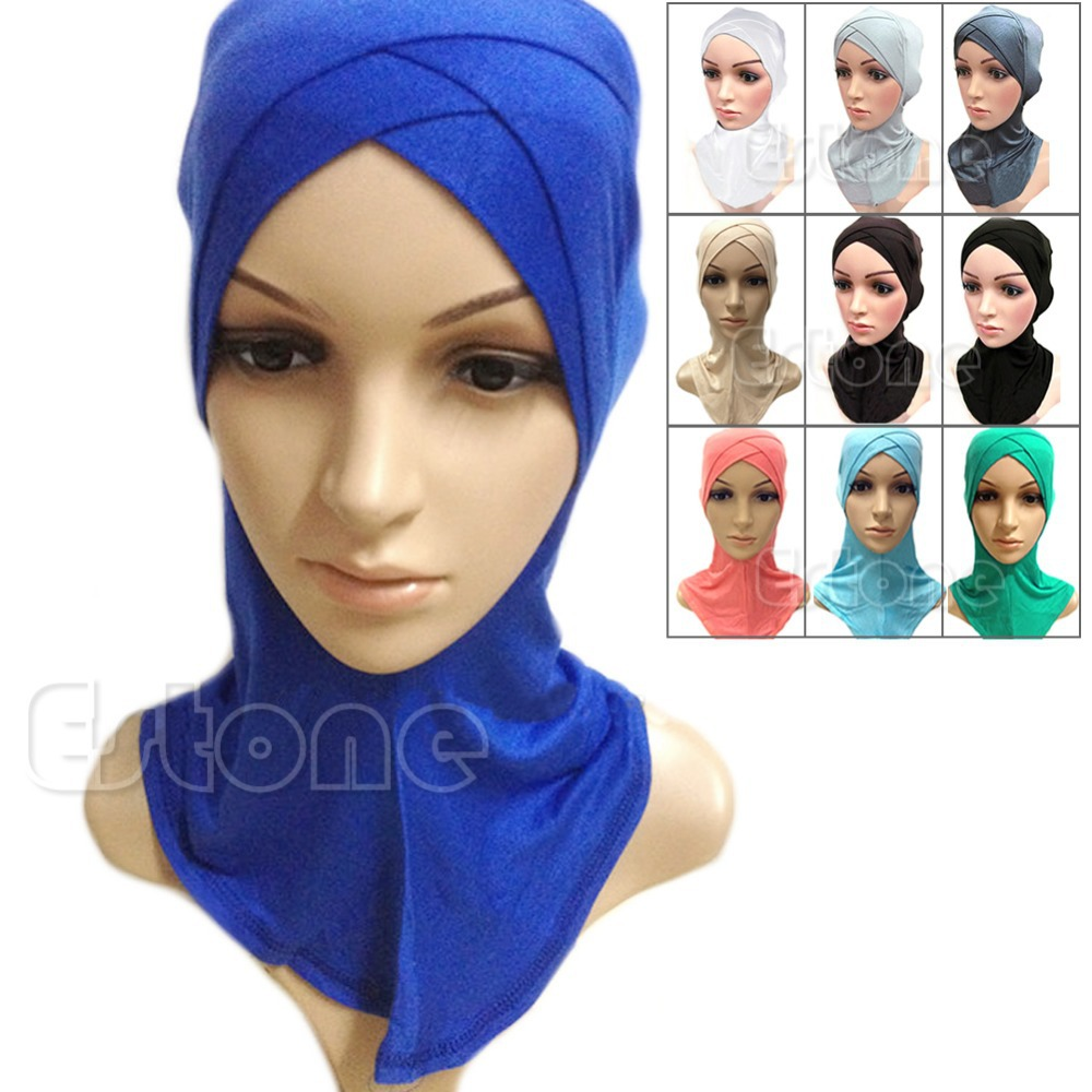 Muslim Cotton Full Cover Inner Hijab Cap Islamic Head Wear Hat Underscarf  Colors 1e651de904c