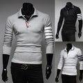 2015 primavera otoño inglaterra estilo único brazo de POLO a rayas camisas de hombres de negocios casual slim fit blanco polos para hombre, M-XXL