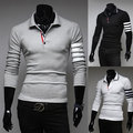 2015 spring Autumn England style Unique arm Striped POLO shirts men Business casual slim fit white POLO shirts for men,M-XXL