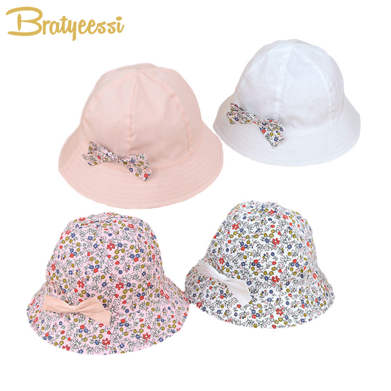 Flower Print Cotton Baby Summer Hat with Bow White/Pink Kids Girl Summer Cap Double Sides can Wear for 1-3 Years 1 Piece