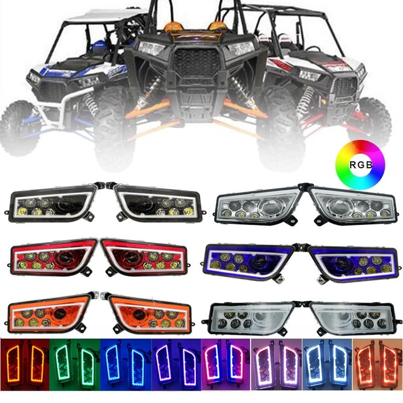 1Pair ATV LED Headlight LED RGB Halo Kit Multicolor RGB Halo Angle Eyes kit Headlamp for Polaris RZR XP 1000. цена 2017