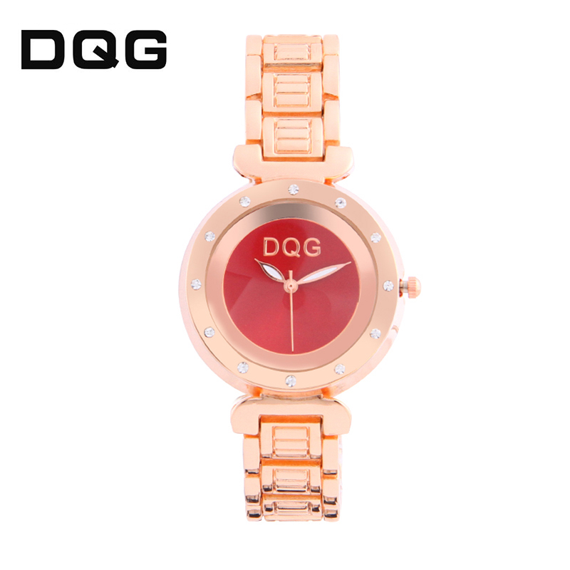 2018 DQG Rose Gold Rhinestone Watch Kvinders Quartz Watches Damer Top - Dameure - Foto 5