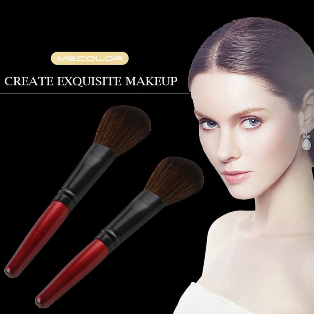 MECOLOR Wooden Handle Makeup Brushes set tools For Face Powder Blusher Foundation eye cosmetics brush Beauty kits 7