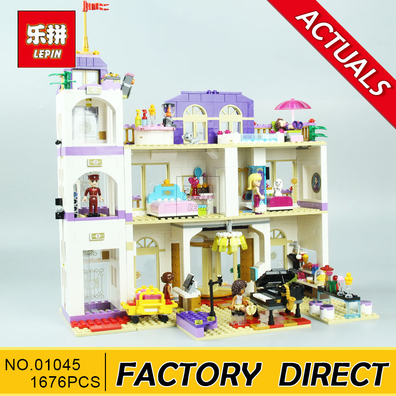 Lepin 01045 Girls Series The Heartlake Grand Hotel Model set Building Blocks Bricks Eucational toys for girls Gift 41101 lepin 01045 1676pcs girls series heartlake grand hotel set children eucational building blocks bricks toys model gift 41101