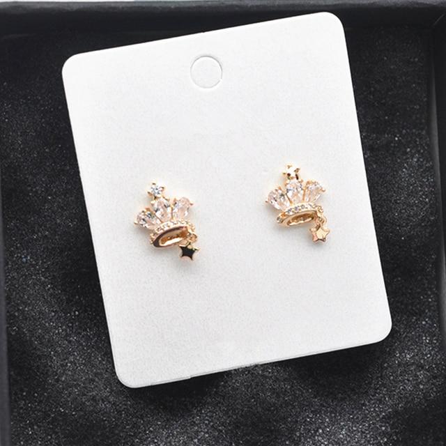 2018 Delicate Cute Rhinestone Crown Shape Lovely Stud Earrings Mini Star Pendientes For Girl Fine Jewelry Birthday Gift