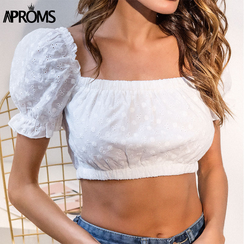 Aproms White Puff Sleeve Soft Crop Top Women Fashion 2018 Lace Crochet Bra Female Camis Streetwear Elastic Slim Cropped Tank Top