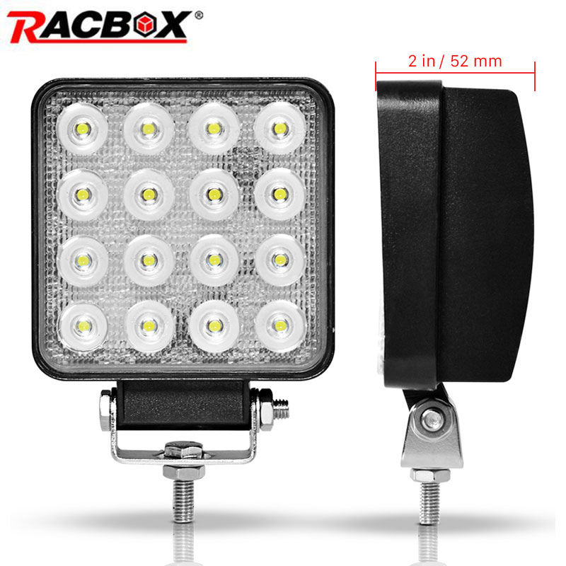 2Pcs 4 inch 48W Offroad LED Work Light Flood Spot Beam Spotlight 12V 24V for Jeep UAZ Car 4WD Boat SUV ATV Truck 4x4 Motorcycle 2pcs 12v 4d 3d 27w offroad led work light spotlight spot beam drive lamp for jeep uaz 4x4 car 4wd boat suv atv truck motorcycle