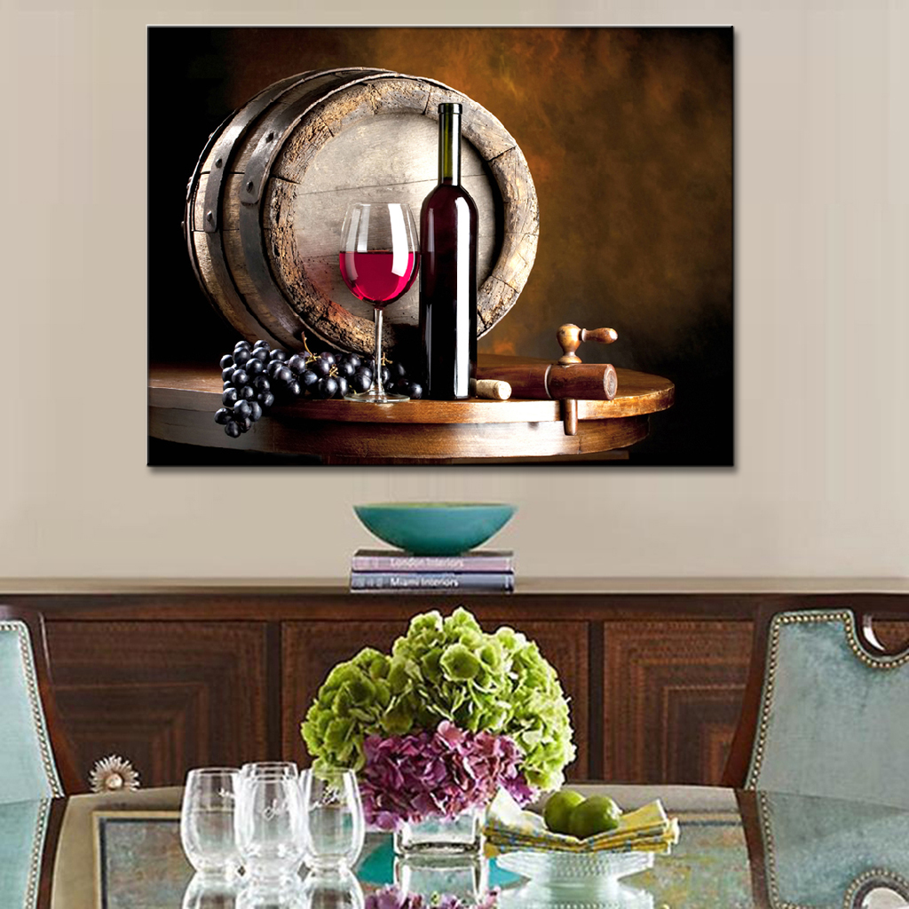 1 Pcs Modern Still Life Wall Art Painting Wine And Fruit