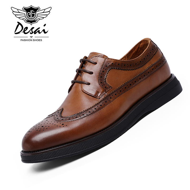 DESAI 2019 Men's Casual Shoes Genuine Leather Brock Carved Hollow Retro Breathable Formal Shoes Men EUR Size 38-44