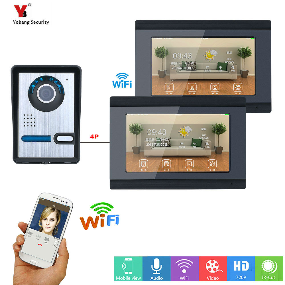 все цены на Yobang Security 7 inch 2 Monitors Wired /Wireless Wifi Video Door Phone Doorbell Intercom System with Wired Support APP Remote