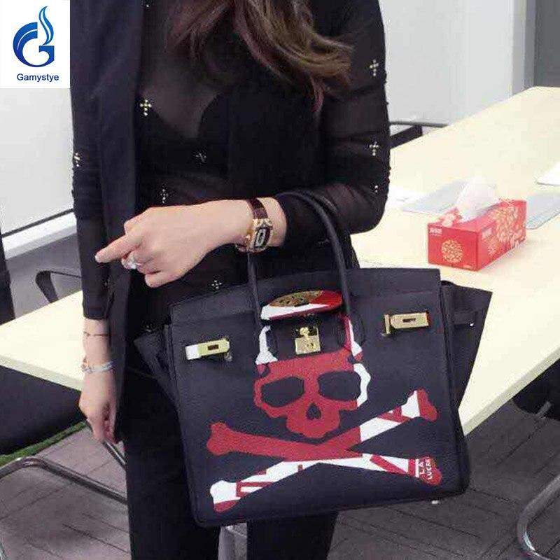 Лидер продаж ручная роспись граффити черепа сумки Для женщин из натуральной кожи сумка Роскошные Сумки Для женщин сумки дизайнер Большой П