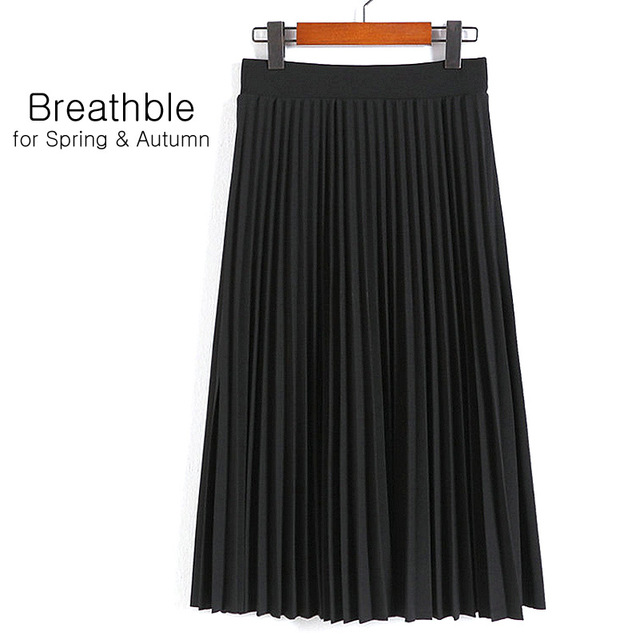 Aonibeier Fashion Women's High Waist Pleated Solid Color Length Elastic Skirt Promotions Lady Black Pink Party Casual Skirts