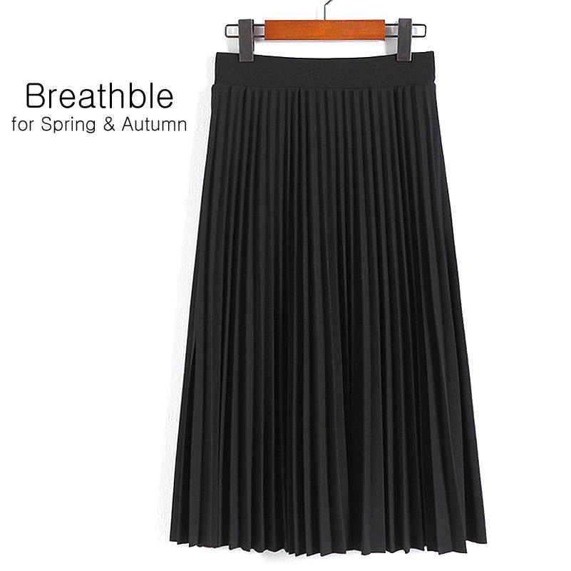 Aonibeier/Модная женская однотонная плиссированная юбка с завышенной талией; эластичная юбка; Акция; женские черные, розовые вечерние повседневные юбки
