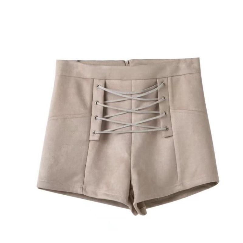 Lace up suede shorts women spring&summer elegant elastic high waist shorts Loose zipper sexy slim hot female shorts 2018