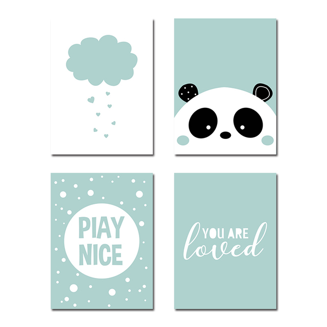 Panda Poster Nursery Quote Wall Art Canvas Print Painting Picture Living Room Nordic Style