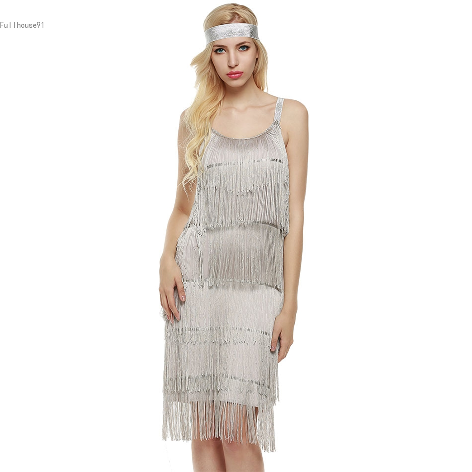 Dress Tassels Glam Party Dress Gatsby Fringe Flapper Costume Dress ...