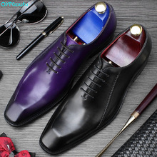 QYFCIOUFU 2019 Handmade Brand Formal Shoes Men Office Wedding Party Men's Dress Shoes Genuine Leather Flat Mens Oxford Shoes christia bella fashion handmade formal mens dress shoes genuine leather spikes studded zebra men s evening wedding party shoes