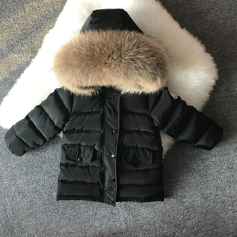 2017 Winter Baby Boys Down Jacket for Winter Clothes Girls Thick Warm Duck Down Kids Snowsuit Children Big Fur Hooded Jacket russia winter boys girls down jacket boy girl warm thick duck down