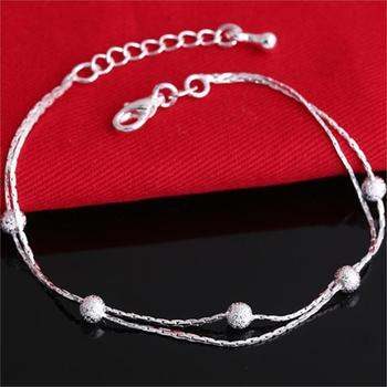 Jiayiqi 2017 Hot Sale Silver color Fashion Bracelet Bead Bracelets for Women Silver color Friendship Bracelets Fine Jewelry