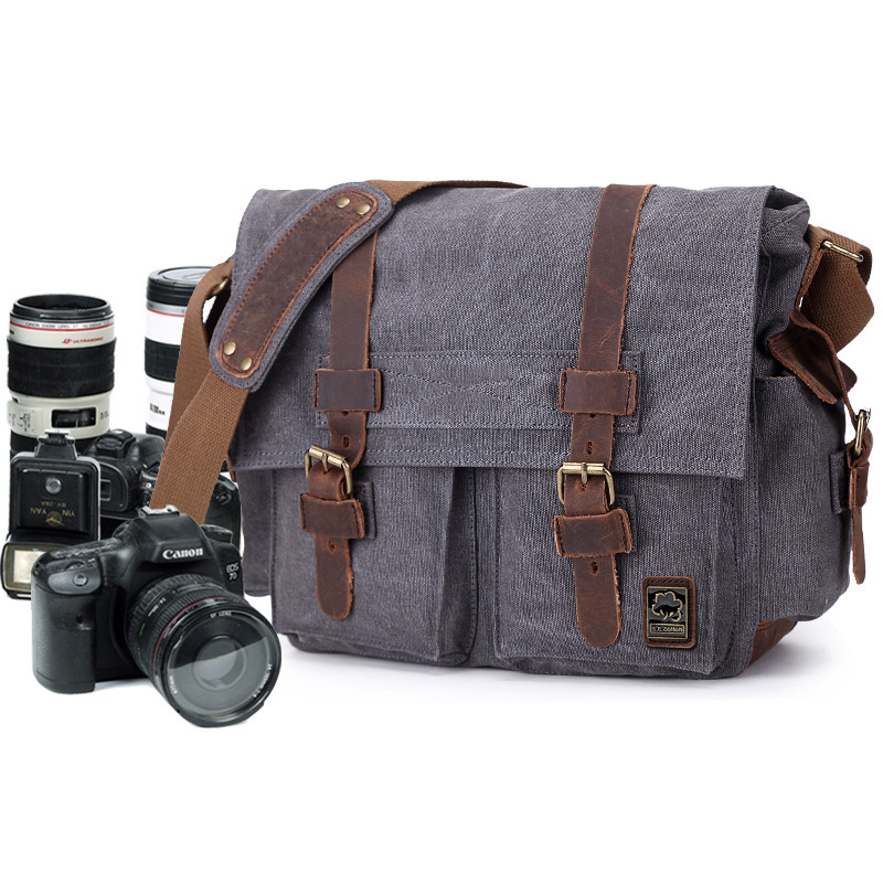 Retro Canvas Crossbody Shoulder Bags Sling DSLR SLR Photo Video Soft Casual Bag Pack Case Travel Camera Protective Cases ozuko brand dslr camera bag fashion chest pack slr camera video photo digital single shoulder bag waterproof school travel bags