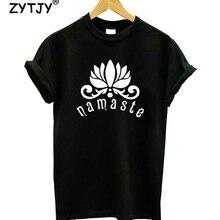 NAMASTE Lotus Flower Print Women tshirt Cotton Casual Funny t shirt For
