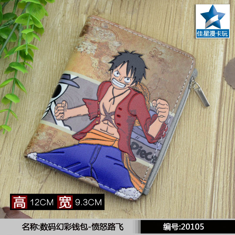 Student Short Coin Purse Anime One Piece Luffy Embossed Zero Change Wallet With Magnetic Button
