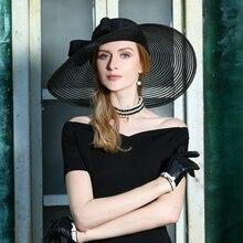 Señora de sombreros sombrero verano real Azul zafiro ala grande boda sombrero  para las mujeres Bowknot elegante en la fiesta de . 1d6ef848cb22