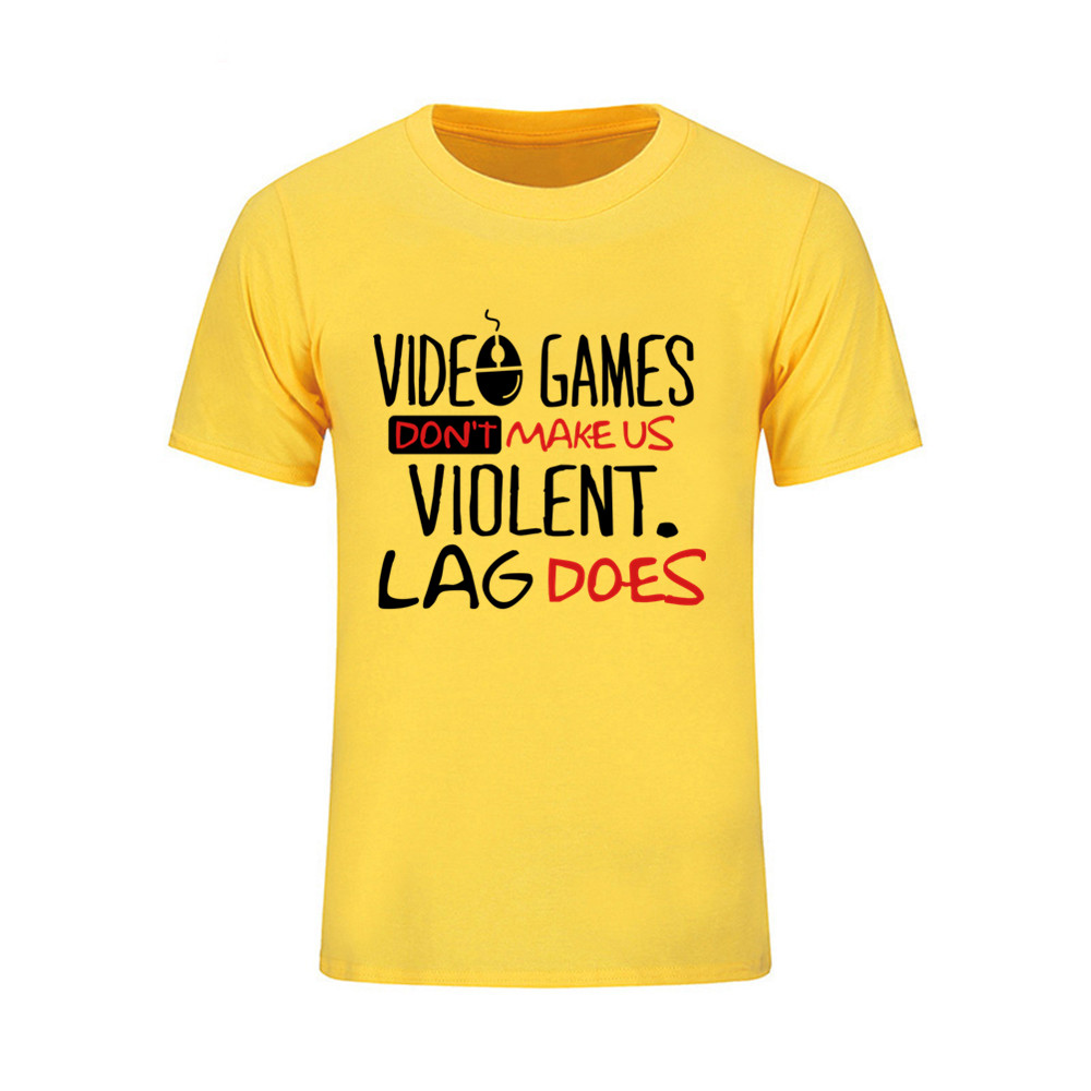 Men T Shirts Video games dont make us violent Lag does Skateboard baseball jersey Short Sleeve Big Size Male T-Shirt Clothing