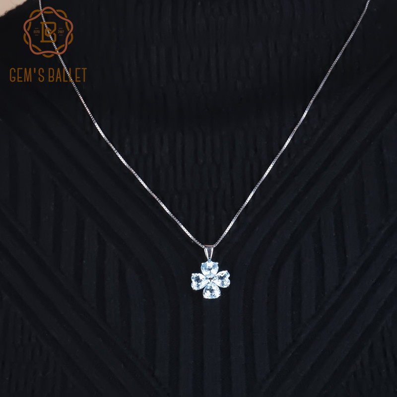 Gem's Ballet Brand Fine Jewelry 3.31Ct Natural Sky Blue Topaz 925 Sterling Silver Clover Necklaces & Pendants For Women
