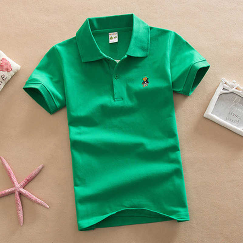 2018 New Children Kids Polo Shirts Solid 2018 Short Sleeve Summer School Uniforms Big Teens Boys Little Girls Cotton Lapel Tops