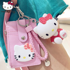 Plush Wallet Pendant Lanyard Hello-Kitty Badge-Holder Coin-Bag Gift ID Package Comfortable