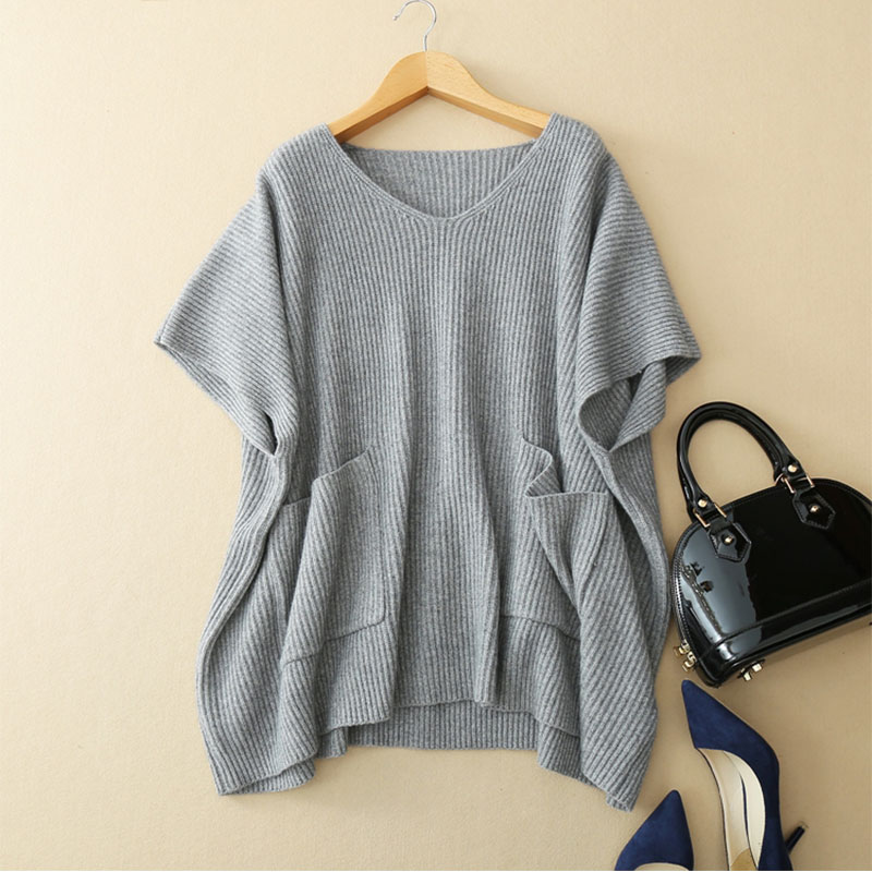 Womens V Neck Batwing Sleeve Oversized Knit Sweater 2018 100 Pure Cashmere Knitwear Short Sleeves Loose