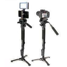Ulanzi seyahat Tripod hafif Monopod 58in Tripode için Quick Release Plate ile Video topu kafa iPhone/Canon/Nikon/Sony DSLR
