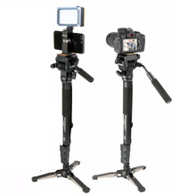 Ulanzi trípode de viaje ligero monopié de 58in con placa de liberación rápida, cabezal de bola de vídeo para iPhone/Canon/Nikon/Sony DSLR