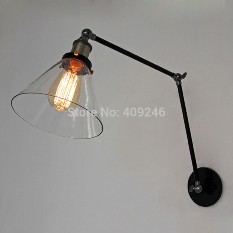 ФОТО Loft American Country Wrought Iron Clear Glass Double Festival Fold Wall Lamp Cafe Bar Coffee Shop Reading Lamp Bedside