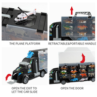 Funny Education Kids Safe Double Sided Carrier Trucks Container Dinosaur Model Gift Animal Transport Toy Car Set Early Learning