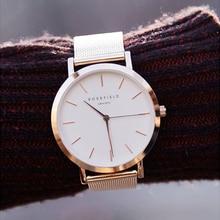 ROSEFIELD модный бренд кварцевые часы спорта кварцевые женские часы Роскошные стали ремень Бизнес Повседневная Водонепроницаемая взрыв часы