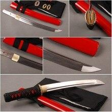 Красивые Самооборона оборудование для девочек полностью ручной работы японский Танто изогнутая сталь Полный Тан острый самурайский меч