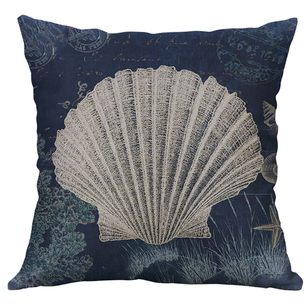 1 cojines Maritime funda funda de almohada cojines decorativos caballito de mar gris//blanco 40x40cm