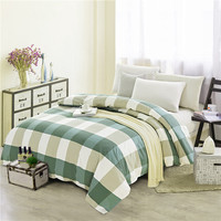 Simple Green Plaid Pattern 1Pcs 100% Cotton Thickening Bedclothes Quilt Cover Duvet Cover Bed Quilt Bedlinen 200x230cm Size