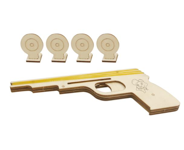 Bullet Rubber Band Launcher Wooden Gun Hand Pistol Guns Shooting Toy Boys Outdoor Fun Sports DIY Toy Model Accessories