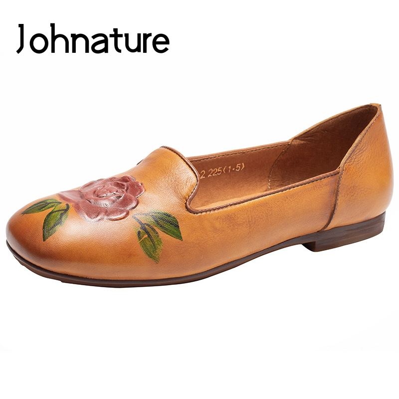 Johnature 2019 New Spring/Autumn Genuine Leather Casual Loafers Round Toe Retro Shallow Flower Slip-on Flat Women Shoes Johnature 2019 New Spring/Autumn Genuine Leather Casual Loafers Round Toe Retro Shallow Flower Slip-on Flat Women Shoes