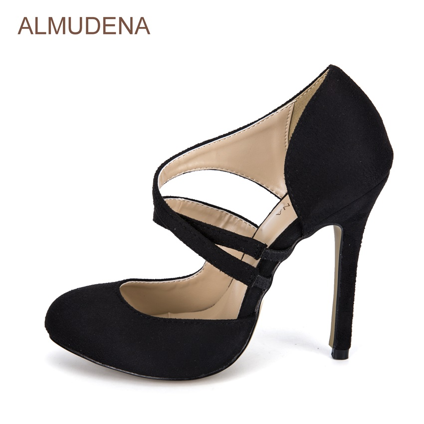 цена на ALMUDENA Luxurious Brand Black Suede Dress High Heel Pumps Stiletto Heel Cross Strappy New Year Party Shoes Shallow Cut-out Pump