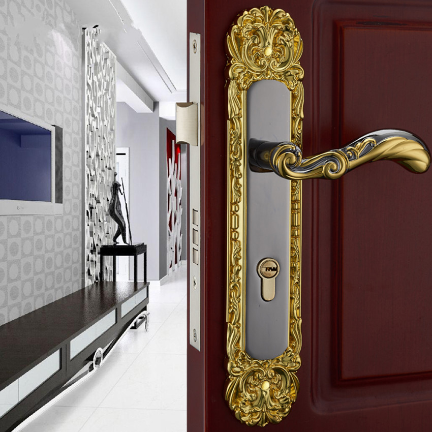 Fashion golden black mute mechanical split room door lock, retro bedroom, study, bathroom, kitchen solid wood door handle lock european fashion glass crystal live room book room door handles amber white indoor lock mechanical handle lock bearing lock body