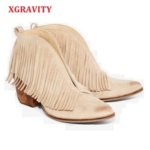 XGRAVITY 2019 New Spring Autumn V Design High Heel Tassel Women Wedge Shoes Fashion Ladies Genuine Leather Pumps Female Hot A115