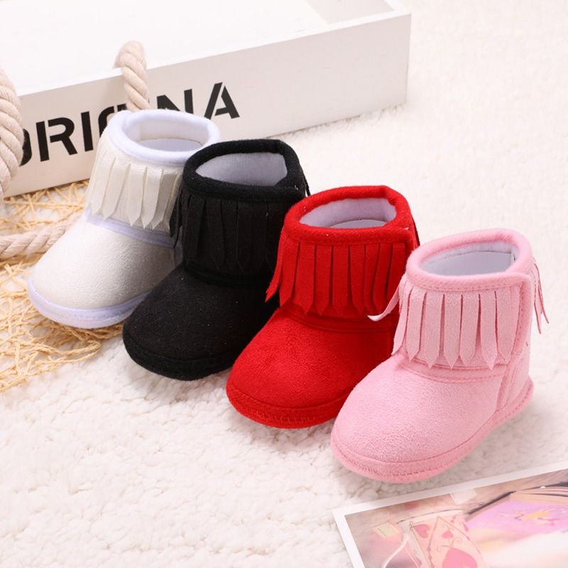 Cute Baby Girl Winter Snow Boots Toddler Tassels Soft Sole Crib Shoes 0-18M