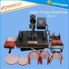 Venta caliente 8 En 1 Combo de Calor Máquina de La Prensa de Placa Taza Cap Camiseta Prensa del Calor de la Máquina de Transferencia de Calor de Sublimación máquina
