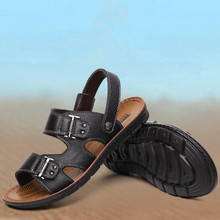 Summer men's shoes Genuine Leather Extra large size sandals Yellow, black, brown Beach shoes Flip Flops slippers huarche boty