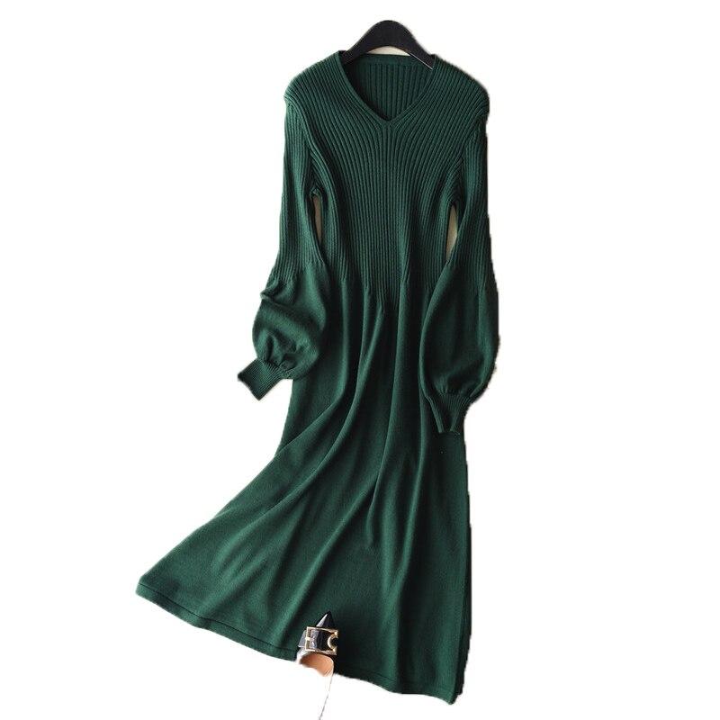 Lhzsyy新しいv 襟カシミヤドレス気泡スリーブニットタイトセーターパッケージヒップスリムファッション春秋ロング女性ドレス  グループ上の レディース衣服 からの プルオーバー の中 3