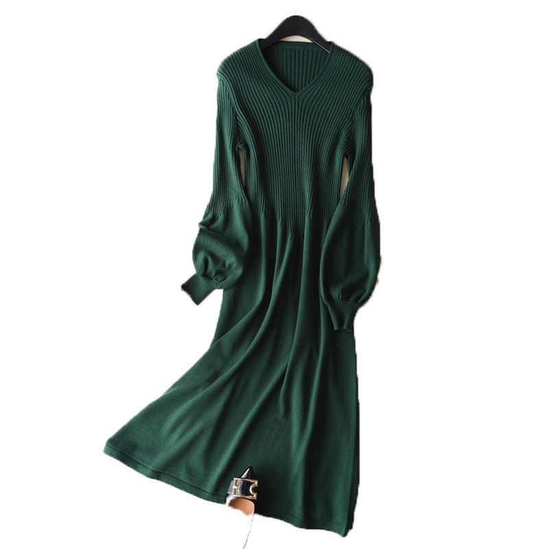 V צווארון החדש LHZSYY בועות שמלת קשמיר שרוול סריגים הדוק ירך חבילת סוודר נשי סתיו אביב האופנה Slim ארוך שמלת